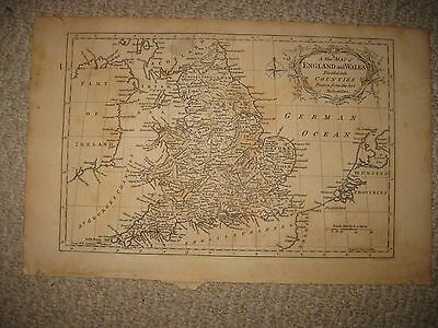 Fine Antique 1765 England Wales Copperplate Map Norfolk Suffolk Yorkshire County