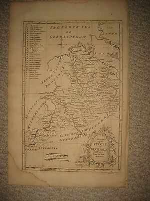 Superb Large Antique 1765 Circle Of Westphalia Germany Copperplate Map Rare Nr
