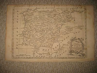 Superb Large Antique 1765 Kingdom Of Spain Portugal Copperplate Map Rare Nr