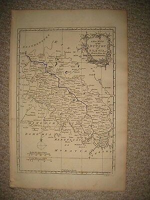 Superb Antique 1765 Dutchy Of Silesia Wroclaw Poland Germany Copperplate Map Nr
