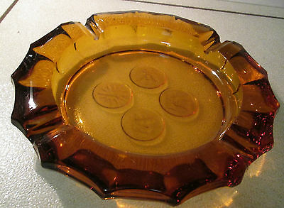 FOSTORIA AMBER COIN GLASS ASHTRAY Vintage Eagle Liberty Bell Flame Soldier VGC