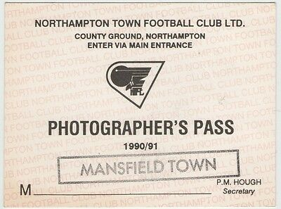 NORTHAMPTON TOWN v MANSFIELD TOWN PHOTOGRAPHER'S PASS 1990/91 COUNTY GROUND