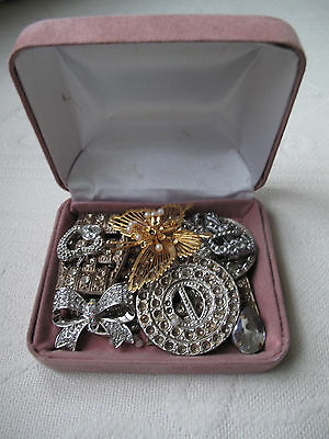 Vintage Stunning Spare & Repair buckles brooches & pendant very beautiful in box