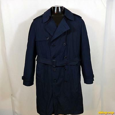 DSCP Military US Army 1995 Long RAINCOAT Trench Coat Mens Size L 44 Blue liner