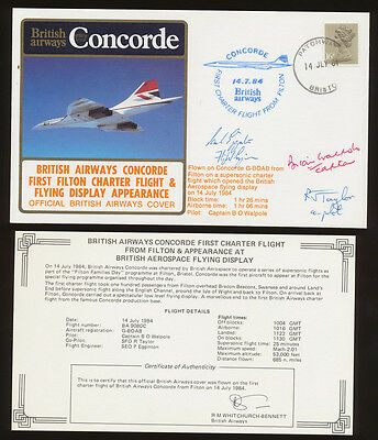 CONCORDE BA Charter July 13, 1984 CREW SIGNED - FILTON Aerospace flying display