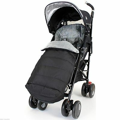 Universal Footmuff Cosy Toes Buggy Pushchair Stroller Pram (Black And Grey)