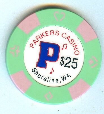 Obsolete Small Card Room Parkers Casino Shoreline Washington $25 Chip Great Shap