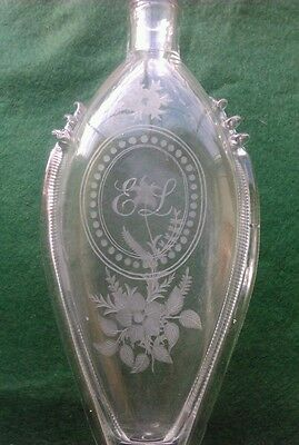 Antique Victorian Nailsea Glass Spirt Flask Engraved Flowers And Monogram