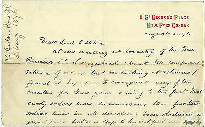 1896 Letter Written By Baden-Powell's Brother Warington (Sea Scout) About Shares