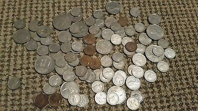Mixed lot of old British coins- Half crowns/six pences/farthings