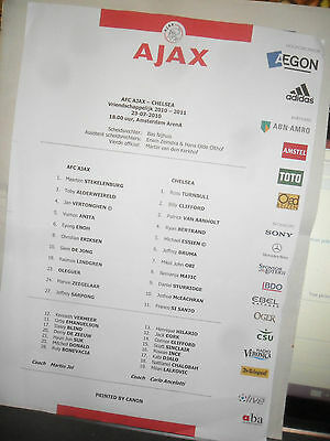 A J A X  Chelsea Official 2011 Coloured Amsterdam Arena Vip Press Sheet