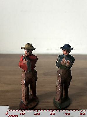 2 Vintage Painted Lead American Wild Wes Cowboys John Hill & Co Johillco