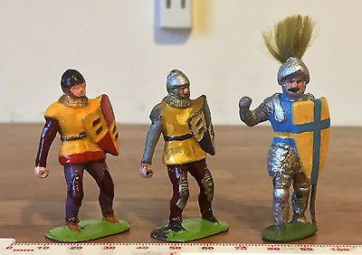 3 Vintage Toy Soldiers Medieval Knights Made in England - Brightly Painted Lead