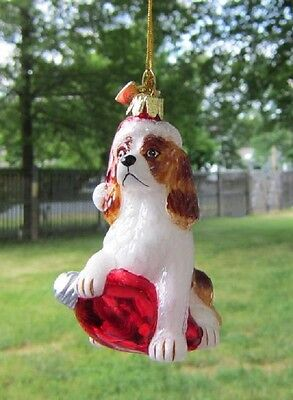 Glass Ornament CAVALIER KING CHARLES RED w/Holiday Bulb Xmas Ornament