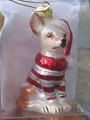 Delicate Glass CHIHUAHUA II Blown Glass Xmas Ornament CLEARANCE SALE
