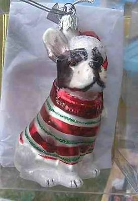 Delicate Glass FRENCH BULLDOG II Glass Christmas Ornament RETIRED