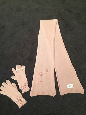 JOHN LEWIS Pale Pink Knitted Lambswool Scarf Gloves Set 3-5yrs Pretty Details