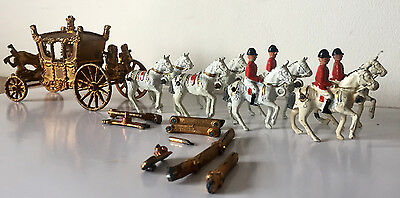 Vintage Crescent Coronation Coach, Horse Team with Grooms & Original 1953 Box