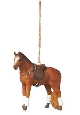 Holiday RIDING HORSE w/ENGLISH SADDLE Resin Christmas Tree Ornament