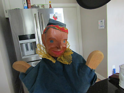 Vintage Hand Made Puppet with Wood Face Hand Puppet