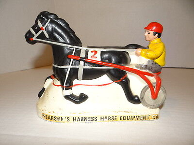 vintage HARNESS RACING Bank HORSE FIGURINE Ceramic MUNCIE INDIANA PEARSON'S