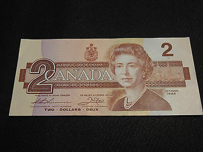 Bank of Canada 1986 $2 Two Dollars Canadian Money - Excellent Cond Thick & Crisp
