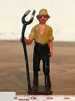 Vintage Painted Lead Farm FARMER with HAYFORK 1950s by Crescent - Britains Era