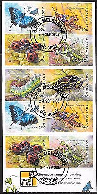 AUSTRALIA 2005 Bugs & Butterflies $5 unfolded booklet, CTO used.
