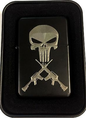 Punisher Skull Crossed AR Rifles Guns Black Engraved Cigarette Lighter LEN-0208