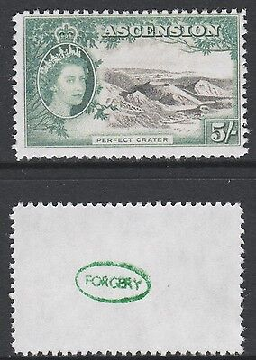 Ascension (877) 1956 QEII Volcano 5s -  a Maryland FORGERY unused