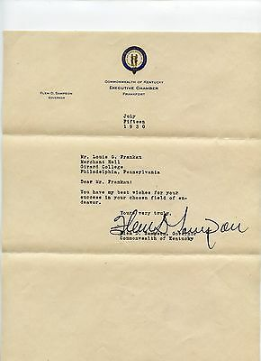 1930 Kentucky Governor Flem Sampson signed letter w/Envelope