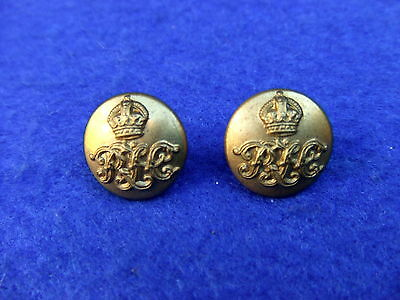Rare Pair Royal Tank Corps/rtc Cap Buttons 13Mm Kings Crown 1923-1939