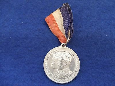 King George V Queen Mary Silver Jubilee Commemorative Medal + Ribbon, Fattorini