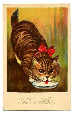 vintage cat postcard fabulous tabby cat w red bow laps at bowl of milk 1931