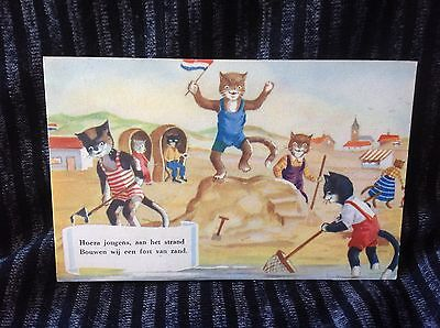 vintage cat postcard dressed cats at the beach sandcastles bathing costumes
