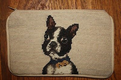 Needlepointed Boston Terrier Cosmetic Zippered Case
