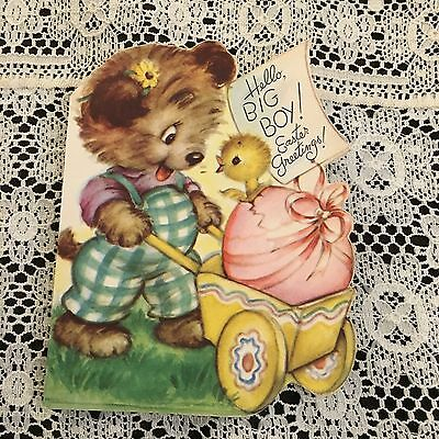 Vintage Greeting Card Easter Bear Egg Chick Rust Craft