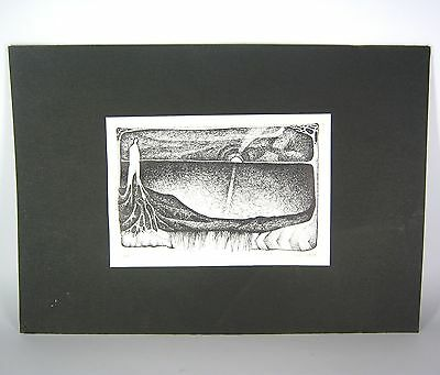 Künstler Lithographie signiert 1976 auf Pappe Lithograph signed RARE ++