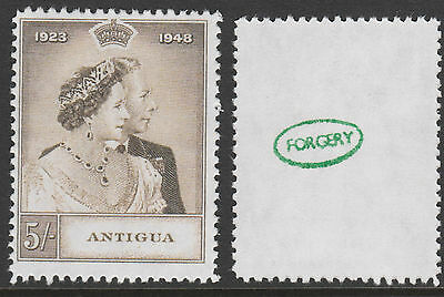 Antigua (880) 1949 KG6 Royal Silver Wedding 5s -  a Maryland FORGERY unused