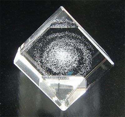 """SPIRAL GALAXY (e.g. Milky Way) 3D Laser-etched cut-glass crystal 1"""" Cube KAIYODO"""