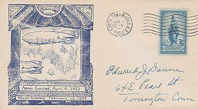 1950 Event Cover Commemorating The Crashes Of Zeppelin Akron & Macon W/scott#989