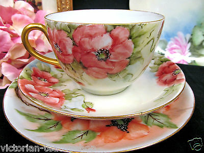 Germany Tea Cup And Saucer Trio Painted Poppy Pattern Teacup