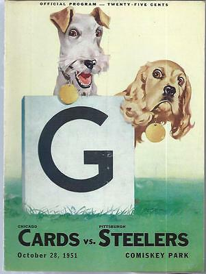 1951 Pittsburgh Steelers at Chicago Cardinals Football Program A