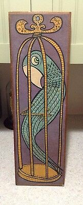 TOM TRU Caged Parrot Mid Century Textile Screen Printed Pop Art Wall Hanging