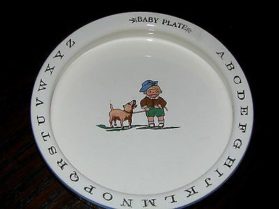 Adorable ANTIQUE ABC's BABY PLATE:  Sm.Boy w.Dog, Gold Letters,Lt. Blue Rim,7.5""