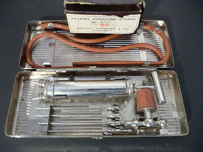 Vintage ANTIQUE SURGICAL MEDICAL POTAIN'S ASPIRATING SYRINGE + BOX