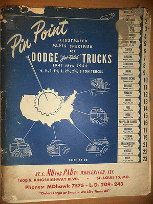 Vintage 1941-52 Dodge Trucks Pinpoint Parts Catalog Mechanical Electrical Repair