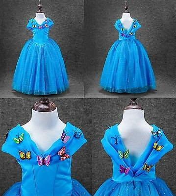 Cenerentola Movie Film Costume Vestito Cosplay Bambina 4 5 6 7 8 9 10 11 12 Anni