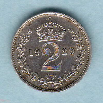 Great Britain.   1929 George V - Maundy Twopence..  gEF