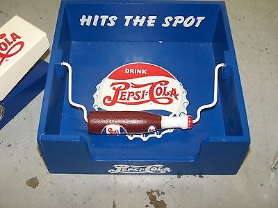 PEPSI-COLA WOOD PICNIC STYLE NAPKIN HOLDER Never Used New old Stock